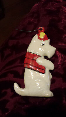Vintage Hand Painted Ceramic Westie Christmas Ornament Signed B Nice Detail