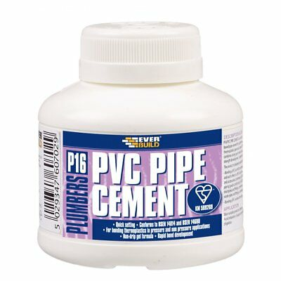 EVERBUILD P16 PLUMBERS PVC PIPE SOLVENT WELD CEMENT 250ml PIPE ADHESIVE GLUE