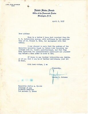 LYNDON B. JOHNSON To friend appointed to new Federal Judgeship by JFK in 1961