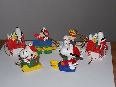 Lot 6 Peanuts Lucy Linus  & Snoopy United Features Assorted Ornaments