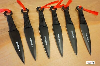 "6 Pc 6"" Black Combat Ninja Tactical Throwing Knife Set Naruto Kunai w/ Sheath"