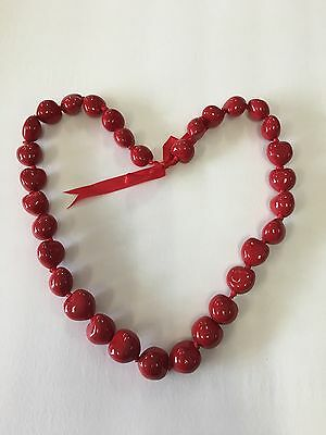 "Hawaiian Red 32"" Kukui Nuts Lei Bead Necklace"