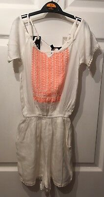 "Girls Summer Cold Shoulder Playsuit/culotte,"".age 9""white/peach Insert."