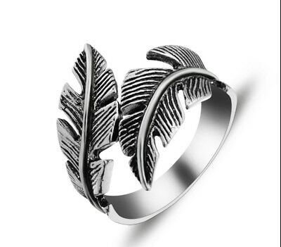 Vintage Men's Gothic Antique Silver Stainless Steel Feather Ring Band Jewelry RD