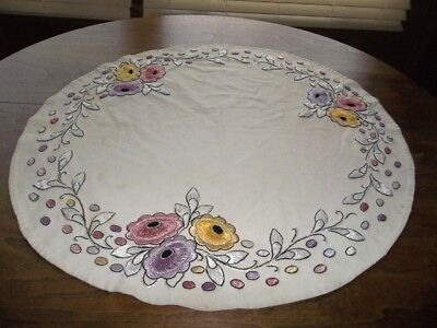 Arts & Crafts Embroidered Antique Mission Table Linen Round-Stickley Era