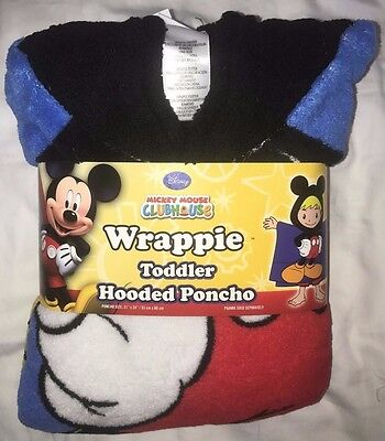Disney Boys Mickey Mouse Toddler Hooded Poncho One Size Fits Most