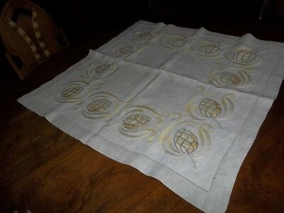 Antique Arts And Crafts Embroidered Table Linen Square Decorated With Pinapples
