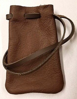 Genuine Handmade Leather Pouch W/Draw String  Made In USA 2 Colors Approx 3x5in