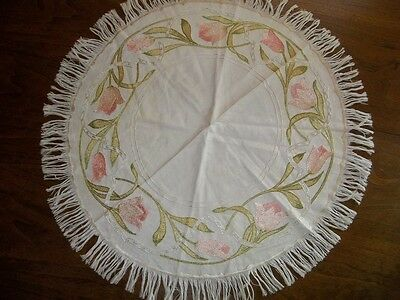 Arts & Crafts Antique Embroidered Table Linen Round Mission Stickley Era