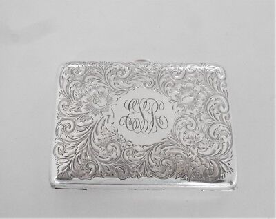 Vintage Sterling Monogrammed Cigarette Case By R. Blackinton & Co., 78 Grams