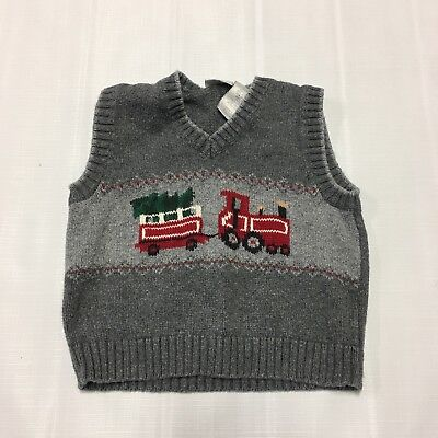 Toddler Boy Sweater Vest Sz 24 Mo. Christmas Holiday Train Tree Winter Snowflake