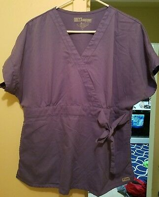 Greys Anatomy Woman's  Scrubs Top Size Large Purple
