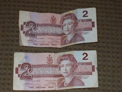 Lot of 2 Ottawa 1986 CANADA Canadian $2 Two Dollar Bill Note Circulated Deux