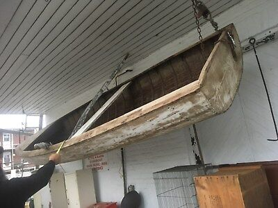 Vintage early 1900s Wood and Canvas 16FT Row Boat & Ores Beach Decor Hunt Fish