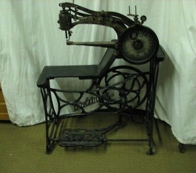 Rare Emile James Politype Industrial Leather Treadle Sewing Machine