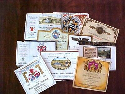 LOT OF 10 VINTAGE 1970s COLORFUL GERMAN WINE LABELS FOR CRAFTS OR DECOUPAGE