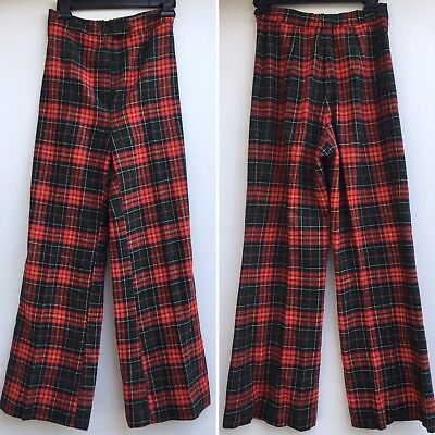 "Vintage Wool Plaid Pants High Waist Wide Leg 70s 25"" To 26"" Waist"