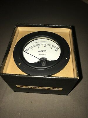 Vintage Simpson Model 25 DC Panel Meter Gage 0-30 DC Volts 1000 Ohms/volts