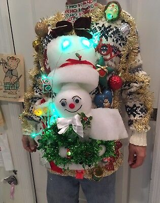 SANTA Ugly Christmas Sweater LIGHTS UP! CRazY HIDEOUS Contest VINTAGE Loaded Lrg