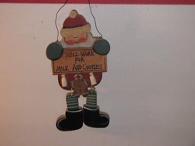 """Vintage Wooden Santa """"will Work For Milk And Cookies"""" Wall,door Hanging 9""""s Tall"""