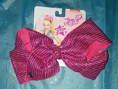 JoJo Siwa Authentic Large Hair Clip Bow Hot Pink Flat Sequin NEW