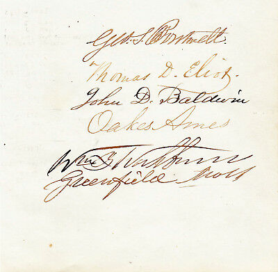 CIVIL WAR Sheet Signed by 5 Mass. Congressmen who voted for 13th Amendment