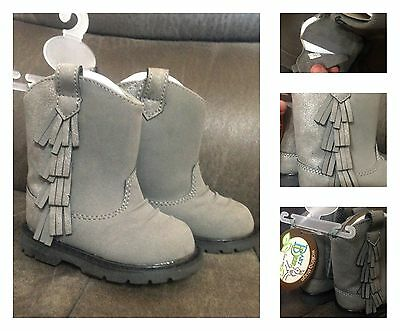 New Baby Deer grey finged western boots, infant sz 5
