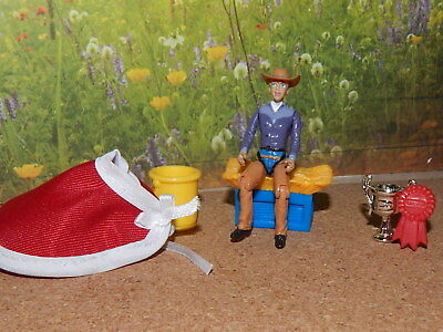 Breyer Stablemate Articulated Cowgirl,trophy, Ribbon, Bucket, Horse Blanket, Hay