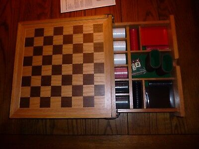 Vintage Backgammon, Chess and Poker Set, solid oak wood, new old stock