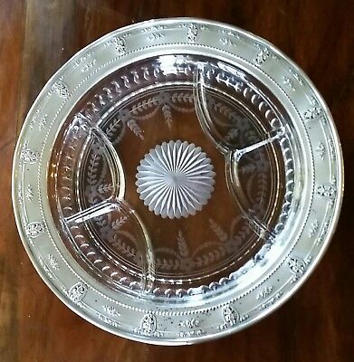 Vtg WALLACE Rose Point STERLING Cut Crystal DIVIDED PLATTER Pie Crust Edge