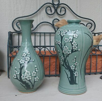 2 Celadon Vases Flower Blossoms in Relief and painted
