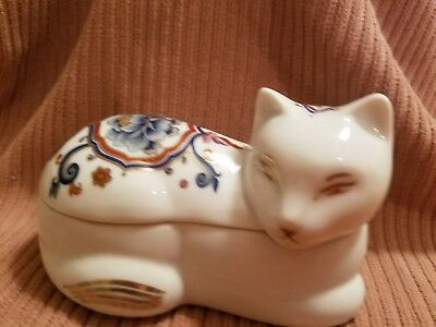 Elizabeth Arden Porcelain Cat Chinoiserie Collection Trinket Box with Candle