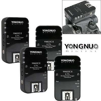 4 x Yongnuo YN-622C II TTL Wireless Flash Trigger For Canon EOS 350D 20D 6D 500D