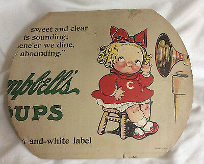Vintage Campbell's Soup Kid Cardboard Cutout Sign -1913 Advertising Double Sided