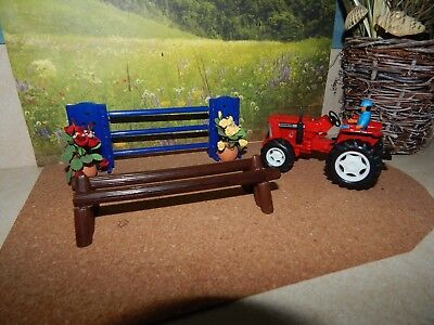 Breyer Stablemate Blue Jumping Fence, Double Log Jumping Fence, Red Farm Tractor