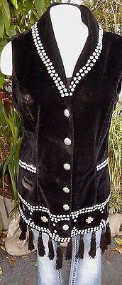 Vintage Roja Velvet Vest Studded  Tassel Sold Out Western Cowgirl Chic Sexy