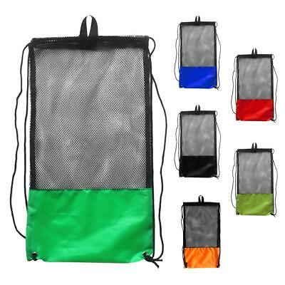 6x Mesh Drawstring Bag with Shoulder Strap for Swimming Scuba Diving Snorkel