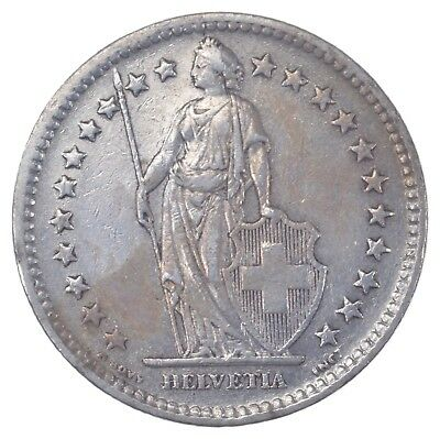 SILVER - 1944 Switzerland 2 Francs - World Silver Coin 10.1 Grams *435