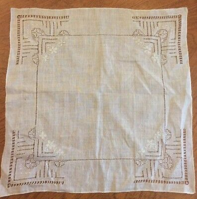 Vintage Women's Hand Embroidered Handkerchief, Beige