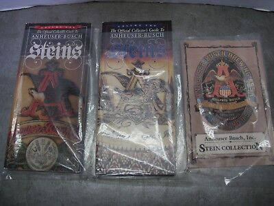 Anheuser-Busch Budwieser Official Stein Collector's Guides 1st Ed & Volume 1 & 2