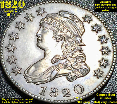 1820 CAPPED BUST QUARTER - Large 0 @@HIGH GRADE@@EYE APPEAL@@ R4 (VERY SCARCE)