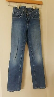 Gymboree jeans girls sz 8 faded blue button distressed adjustable waist pants