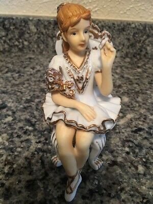 Vintage Figurine WOMAN SITTING IN CHAIR Porcelain Bisque Figurine Unmarked(VGC)
