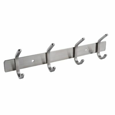 KES SUS 304 Stainless Steel Towel/Coat Hook Rack Rail Shelf with 4 Hooks Robe