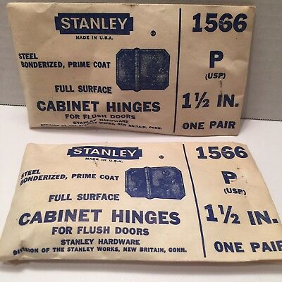 2- Pair Of Antique Stanley Cabinet Hinges/ 1566 . New Old Stock.. Look 👀