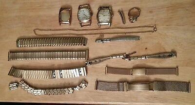Large Lot Of 1/20 Gold Filled Scrap & Good Ring Watch Band Necklace 195g