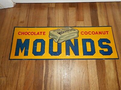 Vintage 1930s Tin Embossed Advertising Sign Chocolate Mounds 5 Cent Candy Bar