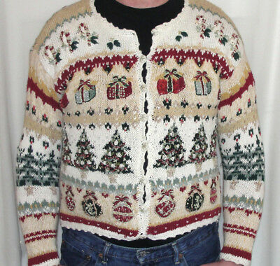 VINTAGE Gawdawful TOO MUCH UGLY Christmas Sweater Mens M Women L SPARKLES & MORE