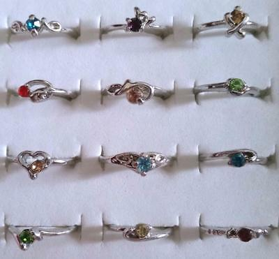 Bulk Lot x 20 Mixed Girls Silver Metal Alloy Rhinestone Party Rings Free Post