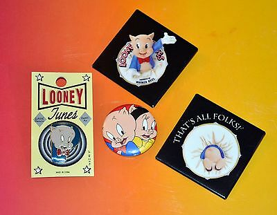 Porky Pig Looney Tunes Lot Of 4 Pins That's All Folks Petunia Pig